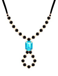 cheap -Women's Cubic Zirconia Pendant Necklace Retro Precious Statement Ladies Geometric Vintage Cord Rhinestone Glass Black Gray Blue 42+5 cm Necklace Jewelry 1pc For Party Prom Promise