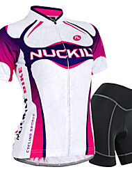 cheap -Nuckily Women's Short Sleeve Cycling Jersey with Shorts Purple Gradient Bike Shorts Jersey Clothing Suit Waterproof Breathable 3D Pad Reflective Strips Sweat-wicking Sports Polyester Spandex Gradient
