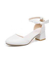 cheap -Girls' Flower Girl Shoes PU Heels Little Kids(4-7ys) / Big Kids(7years +) Bowknot White / Beige / Pink Spring &  Fall