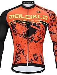 abordables -Malciklo Homme Manches Longues Maillot Velo Cyclisme Hiver Toison 90% Polaire 10% Soie Naturelle Orange Bande dessinée Cyclisme Maillot Hauts / Top VTT Vélo tout terrain Vélo Route Chaud Doublure