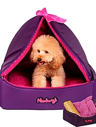 cheap -Dog Cat Pets Bed Tent Cave Bed Pet House Warm Tent Washable Pet Liners Fabric Solid Colored Purple