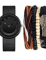cheap -Men's Wrist Watch Quartz Gift Set Silicone Black Chronograph Creative Cool Analog Casual Minimalist - White Black One Year Battery Life / Large Dial