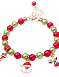 cheap -Women's Bead Bracelet Pendant Bracelet Beads Santa Suits Deer Ladies Classic Fashion Imitation Pearl Bracelet Jewelry Red For Christmas Gift