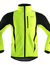 cheap -Arsuxeo Men's Cycling Jacket Bike Jacket / Winter Fleece Jacket / Top Windproof, Thermal / Warm, Breathable Stripe Polyester, Spandex, Fleece Winter Orange / Red / Light Green Road Cycling Relaxed Fit