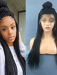 cheap -Synthetic Lace Front Wig Straight Middle Part Lace Front Wig Long Natural Black Synthetic Hair 22 inch Women's Gift Party Synthetic Black