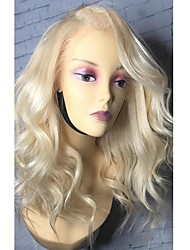 cheap -Remy Human Hair Lace Front Wig Bob Middle Part Side Part Gaga style Brazilian Hair Loose Wave Blonde Wig 130% Density with Baby Hair Natural Hairline African American Wig 100% Virgin Women's Medium