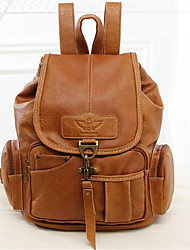 cheap -Women's PU Leather School Bag Commuter Backpack Large Capacity Buttons Zipper Daily Dark Brown Black Brown