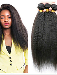 cheap -3 Bundles Mongolian Hair Yaki Straight Human Hair Headpiece Extension Bundle Hair 8-28 inch Natural Black Human Hair Weaves Silky Extention Natural Human Hair Extensions / 8A