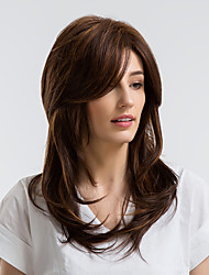 cheap -Human Hair Wig Kinky Curly Side Part Blonde Brown Natural Hairline Capless Women's Brown 20 inch Daily Wear