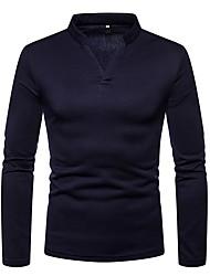 abordables -Tee-shirt Homme, Couleur Pleine Basique Col en V Gris Foncé / Manches Longues