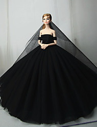 cheap -Doll Dress Party / Evening For Barbiedoll Black Tulle Lace Cotton Blend Dress For Girl's Doll Toy