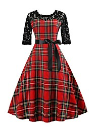 cheap -Women's Christmas Holiday Going out Vintage 1950s A Line Dress - Plaid / Check Lace Print Summer Red S M L XL
