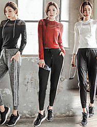 cheap -Women's See Through Cotton Tracksuit 3pcs Yoga Running Fitness Breathable Anatomic Design Sweat-wicking Sportswear Sports Bra Hoodie Pants / Trousers Long Sleeve Activewear Stretchy Slim / Mesh