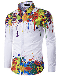 cheap -Men's Going out Slim Shirt - Rainbow Vintage Style Rainbow / Long Sleeve / Spring / Fall / Winter
