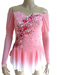 cheap -Figure Skating Dress Women's Girls' Ice Skating Dress Pink Flower Halo Dyeing Spandex Micro-elastic Professional Competition Skating Wear Handmade Sequin Long Sleeve Figure Skating