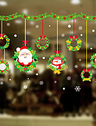 cheap -Window Film & Stickers Decoration Happy New Year / Christmas Flower / Floral / Holiday / Character PVC(PolyVinyl Chloride) Window Sticker / Door Sticker