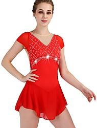 cheap -Figure Skating Dress Women's Girls' Ice Skating Dress Red High Elasticity Training Competition Skating Wear Quick Dry Anatomic Design Classic Sexy Sleeveless Ice Skating Outdoor Exercise Figure
