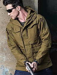 cheap -Men's Hiking Windbreaker Winter Outdoor Camo Windproof Rain Waterproof Quick Dry Wear Resistance Jacket Full Length Hidden Zipper Hunting Military / Tactical Camping / Hiking / Caving Black / Brown