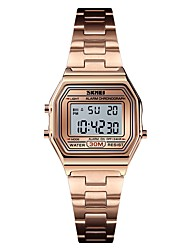 cheap -SKMEI Women's Sport Watch Military Watch Gold Watch Digital Ladies Alarm Digital Golden Rose Gold Silver / One Year / Stainless Steel / Calendar / date / day / Chronograph / Stopwatch