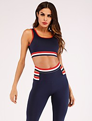 cheap -Women's V Neck Yoga Suit Solid Color Zumba Running Fitness Tights Crop Top Clothing Suit Sleeveless Activewear Breathable Compression Sweat-wicking Butt Lift Stretchy Slim