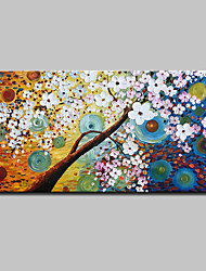 cheap -Oil Painting Hand Painted - Abstract / Floral / Botanical Modern Canvas