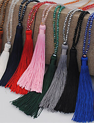 cheap -Women's Pendant Necklace Necklace Long Spike Simple Boho Glass Purple Red Dark Green Blue Pink 90 cm Necklace Jewelry 1pc For / Y Necklace / Long Necklace