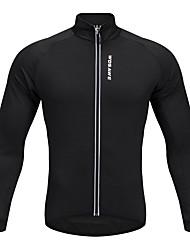 abordables -WOSAWE Homme Femme Manches Longues Maillot Velo Cyclisme Hiver Toison Polyester Noir Noir / Rouge Cyclisme Maillot Hauts / Top VTT Vélo tout terrain Vélo Route Des sports Vêtement Tenue / Elastique