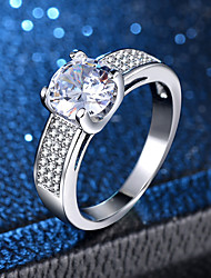 cheap -Women's Ring Micro Pave Ring 1pc Silver Copper Platinum Plated Imitation Diamond Four Prongs Ladies Classic Romantic Wedding Engagement Jewelry Classic Love Lovely