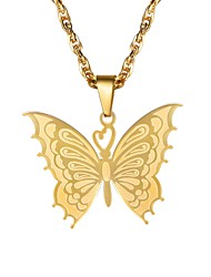cheap -Women's Pendant Necklace Fancy Butterfly Ladies Fashion Stainless Steel Gold Black Silver 55 cm Necklace Jewelry 1pc For Gift Daily