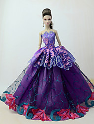 cheap -Doll Dress Dresses For Barbiedoll Lace Violet Tulle Lace Cotton Blend Dress For Girl's Doll Toy