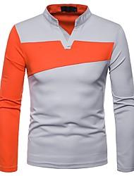 Недорогие -Муж. Футболка / Polo V-образный вырез Контрастных цветов Черный / Длинный рукав