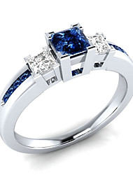 cheap -Women's Ring AAA Cubic Zirconia 1pc White Blue Copper Platinum Plated White Gold Ladies Romantic Wedding Engagement Jewelry Stylish Simulated 3 stone