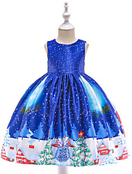 cheap -Kids Toddler Girls' Vintage Active Christmas Party Holiday Snowflake Christmas Sleeveless Knee-length Dress Blue