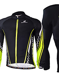 cheap -Nuckily Men's Long Sleeve Cycling Jersey with Tights Green Bike Clothing Suit Windproof Breathable Quick Dry Ultraviolet Resistant Reflective Strips Sports Polyester Lycra Sports Mountain Bike MTB