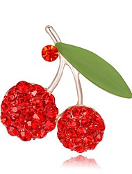 cheap -Women's Brooches Stylish 3D Flower Fruit Ladies Stylish Unique Design Rhinestone Gold Plated Brooch Jewelry Red For Evening Party Street