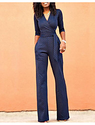 cheap -Women's Daily / Going out Basic Deep V Navy Blue Wide Leg Slim Jumpsuit Onesie, Solid Colored Patchwork S M L Cotton Half Sleeve / Sexy