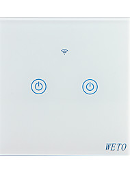 cheap -WETO W-T12 EU/US/CN 2 Gang WiFi Smart Wall Switch Touch Sensor Switch Smart Home Remote Control Works With Alexa Google Home via Smart Phone