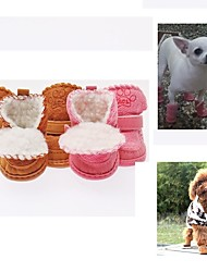 cheap -Dog Boots / Shoes Closed Toe Solid Colored Cartoon For Pets Cotton Coffee / Winter