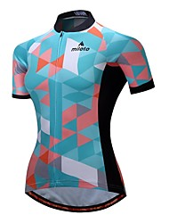cheap -Miloto Women's Short Sleeve Cycling Jersey Green Argyle Bike Jersey Top Breathable Moisture Wicking Reflective Strips Sports 100% Polyester Mountain Bike MTB Road Bike Cycling Clothing Apparel