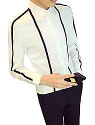 Недорогие -Муж. Полоски Тонкие Рубашка Деловые Повседневные На выход Офис Классический воротник Белый / Черный / Осень / Длинный рукав