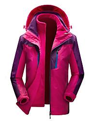 cheap -Women's Hoodie Jacket Hiking Jacket Hiking Fleece Jacket Winter Outdoor Windproof Breathable Rain Waterproof Wear Resistance 3-in-1 Jacket Top Single Slider Camping / Hiking Ski / Snowboard Climbing