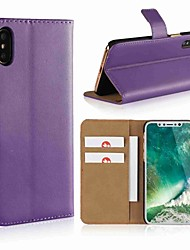 cheap -Case For Apple iPhone X / iPhone 8 Plus / iPhone 8 Wallet / Card Holder / with Stand Full Body Cases Solid Colored Hard Genuine Leather