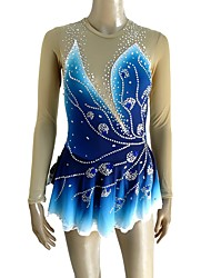cheap -Figure Skating Dress Women's Girls' Ice Skating Dress Blue Open Back Halo Dyeing Spandex Micro-elastic Professional Competition Skating Wear Handmade Sequin Long Sleeve Figure Skating
