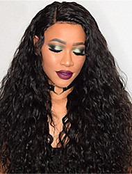 cheap -Remy Human Hair Full Lace Lace Front Wig Asymmetrical Rihanna style Brazilian Hair Afro Curly Black Wig 130% 150% 180% Density with Baby Hair Women Easy dressing Sexy Lady Natural Women's Long Human