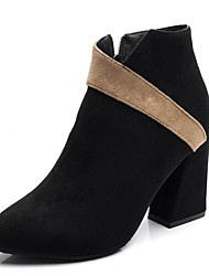 cheap -Women's Boots Bootie Chunky Heel Suede Booties / Ankle Boots Casual Fall Black / Beige