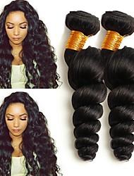 cheap -4 Bundles Mongolian Hair Loose Wave Human Hair Natural Color Hair Weaves / Hair Bulk Extension Bundle Hair 8-28 inch Natural Color Human Hair Weaves Women Extention Best Quality Human Hair Extensions