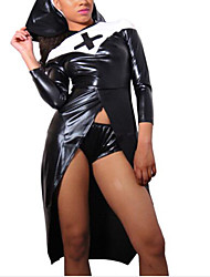 cheap -Women's Sister Act Hot Girl Nun Adults Cosplay Sex Shiny Zentai Suits Solid Colored Plain