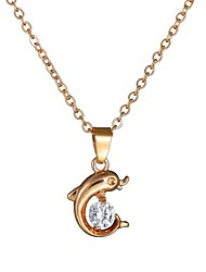 cheap -Women's AAA Cubic Zirconia Charm Necklace Stylish Single Strand Dolphin Ladies Romantic Cute Imitation Diamond Alloy Gold 40+4.5 cm Necklace Jewelry 1pc For Date Going out