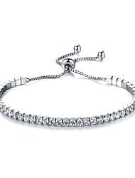 cheap -Women's Cubic Zirconia Chain Bracelet Tennis Bracelet Tennis Chain Creative Ladies Simple Fashion Rhinestone Bracelet Jewelry Black / Silver / Blue For Wedding Daily Masquerade Engagement Party Prom
