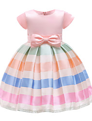 cheap -Kids Girls' Active Cute School Going out Striped Color Block Bow Mesh Short Sleeve Above Knee Dress Blushing Pink